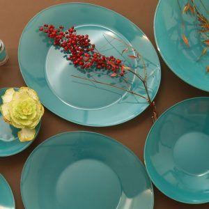 سرویس غذا خوری26 پارچه طرح تک رنگ سبز آبی