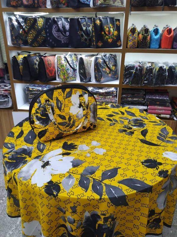 ست روسری کیف نیم دایره زرد