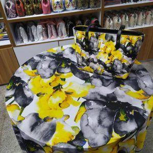 ست کیف و روسری زرد و طوسی