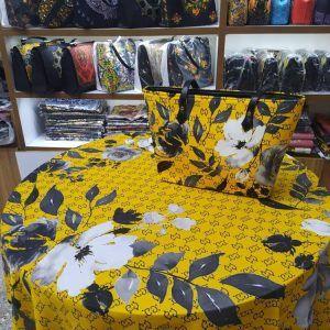 ست روسری و کیف مستطیل زرد